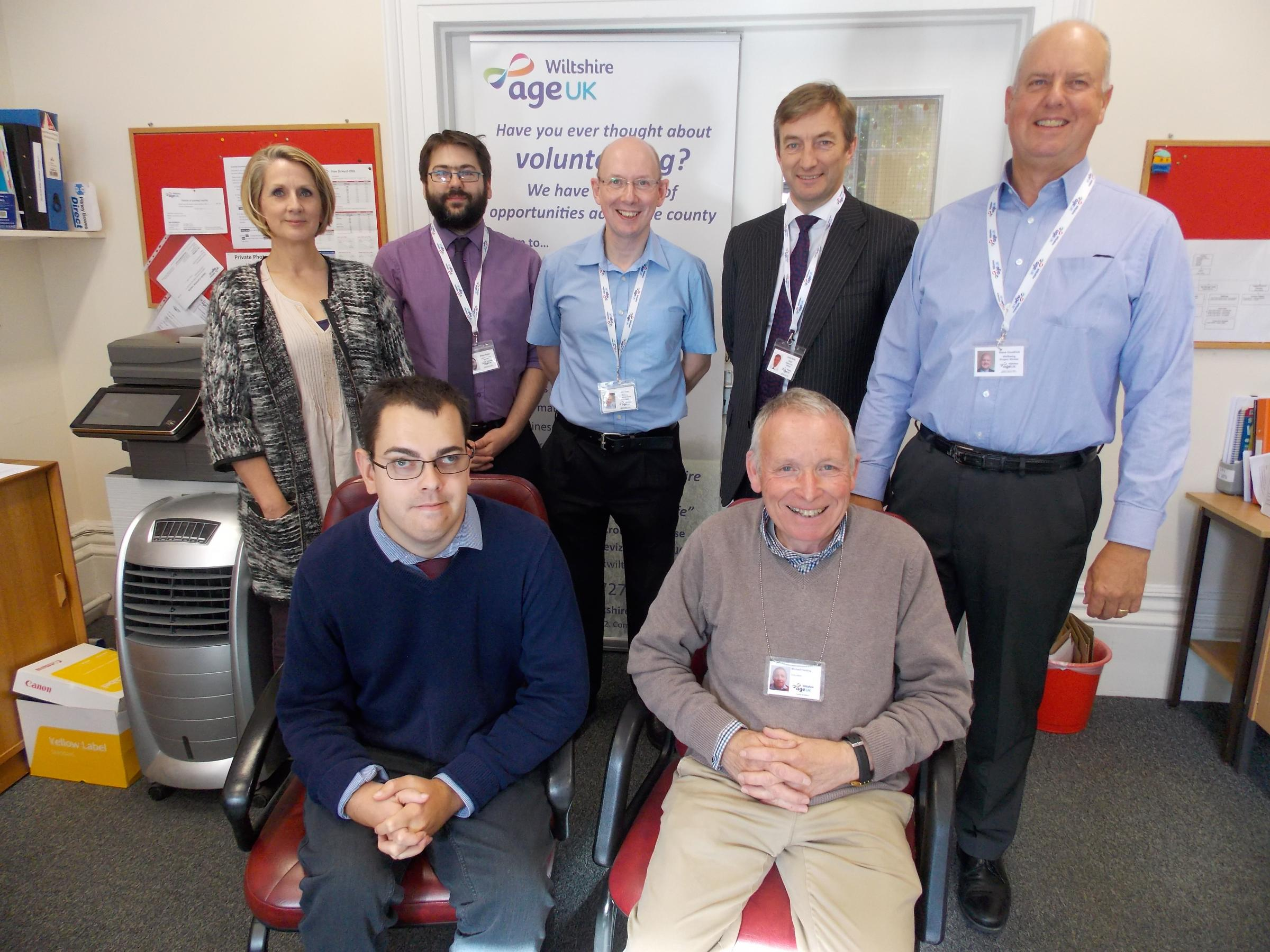 Age UK business support Jo Banks, back left, support services manager Elliot Potter, programmes manager John Truss, chief executive Julian Kirby, Wellbeing Project worker Steve Goodrick, volunteer business support Craig Izatt and volunteer Mike Fielding