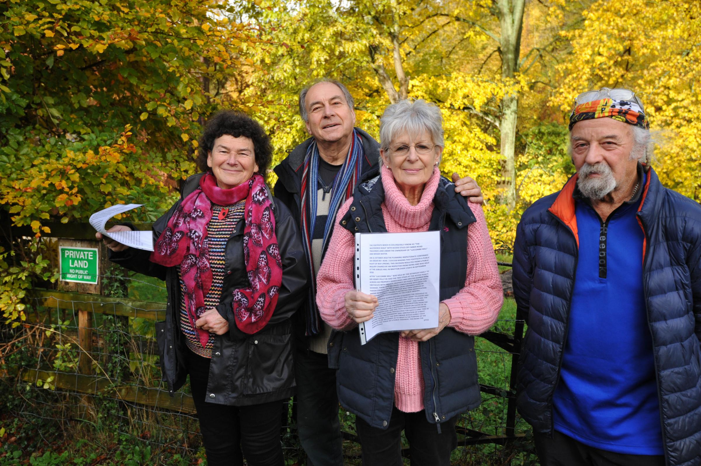 Villager win to keep Footpath open. Campaigners  Gill Humphrey, Katherine Beaumont, Ian Humphrey and Bryan White with documents relating to their court win.. Photo Trevor Porter 60005 2..