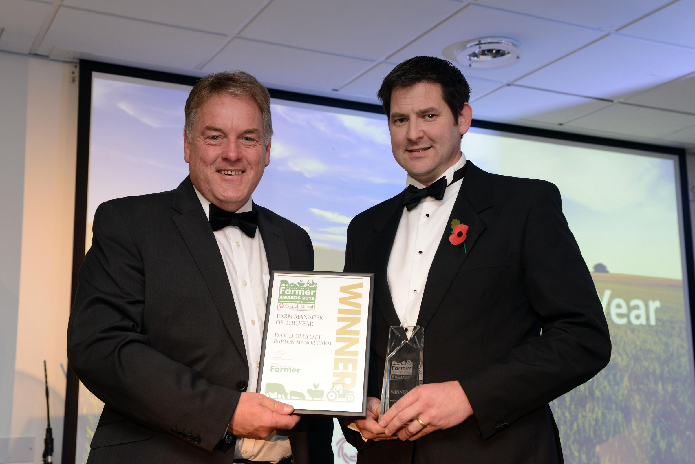Stephen Dennis of the Farming Community Network with winner of the Farm Manager award David Ullyott from Bapton Manor Farm