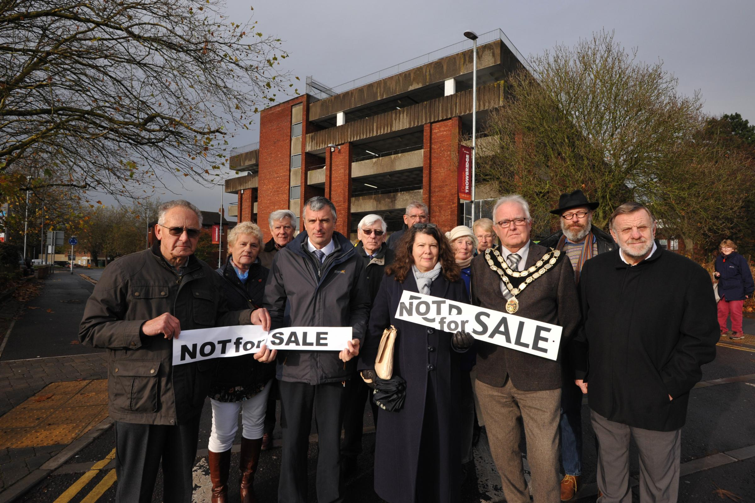 Multi Storey Protest.Councillors and Residents  protest about the Wiltshire County proposal to sell the Multi Storey car park despite the covenant.. Photo Trevor Porter 60049 3..
