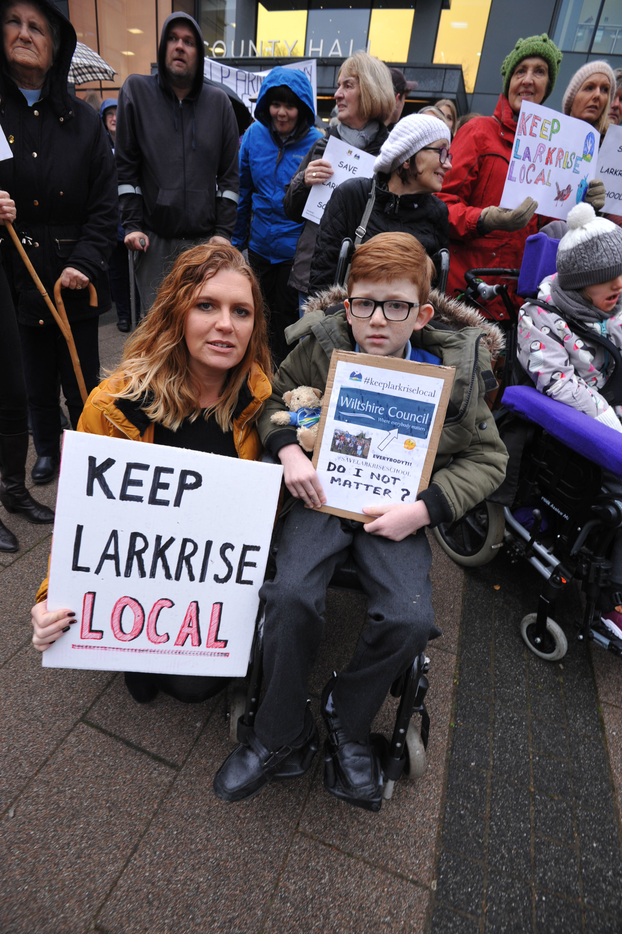 Larkrise  School  Protest against closure. Campaigners outside Country Hall against the  proposed closure of Special Schools. Larkrise and St Nicholas.. Photo Trevor Porter 60072 4..