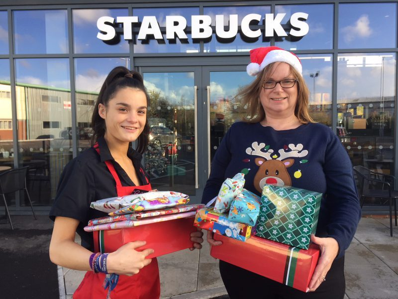 Starbucks staff in Melksham collected Christmas presents for the Barnardo's children's charity