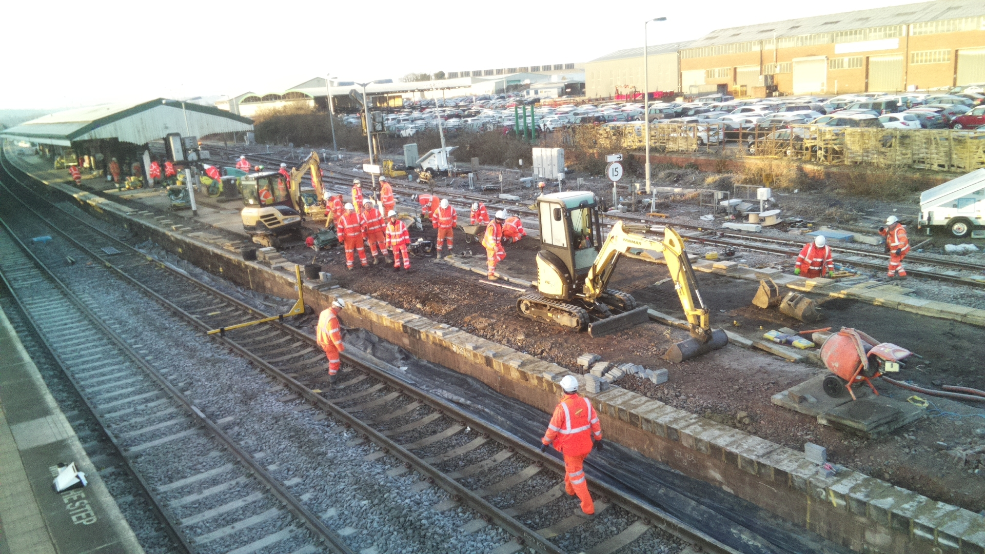 Contractors lay new track at Westbury North Junction Photo: Network Rail