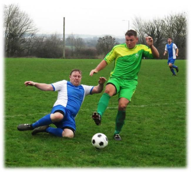 Action from the 2-2 draw between Westbury Rangers (green) and Semington in the Premier Division. PICTURE: CADER ESOOF