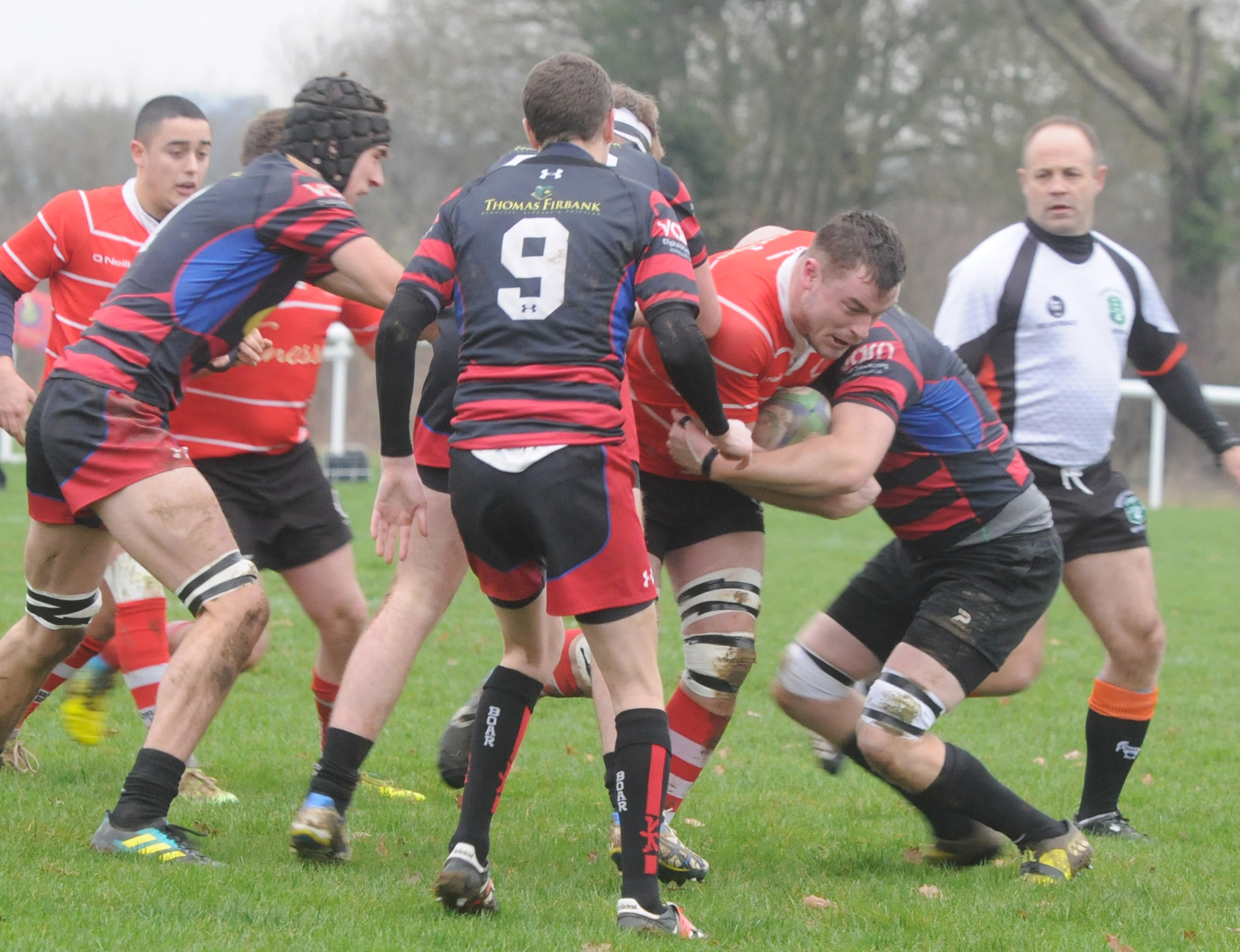 Rugby. Bradford on Avon (black) v Corsham (red). Pictured for Corsham is Will Trick  Photo: Siobhan Boyle SMB2610/13.