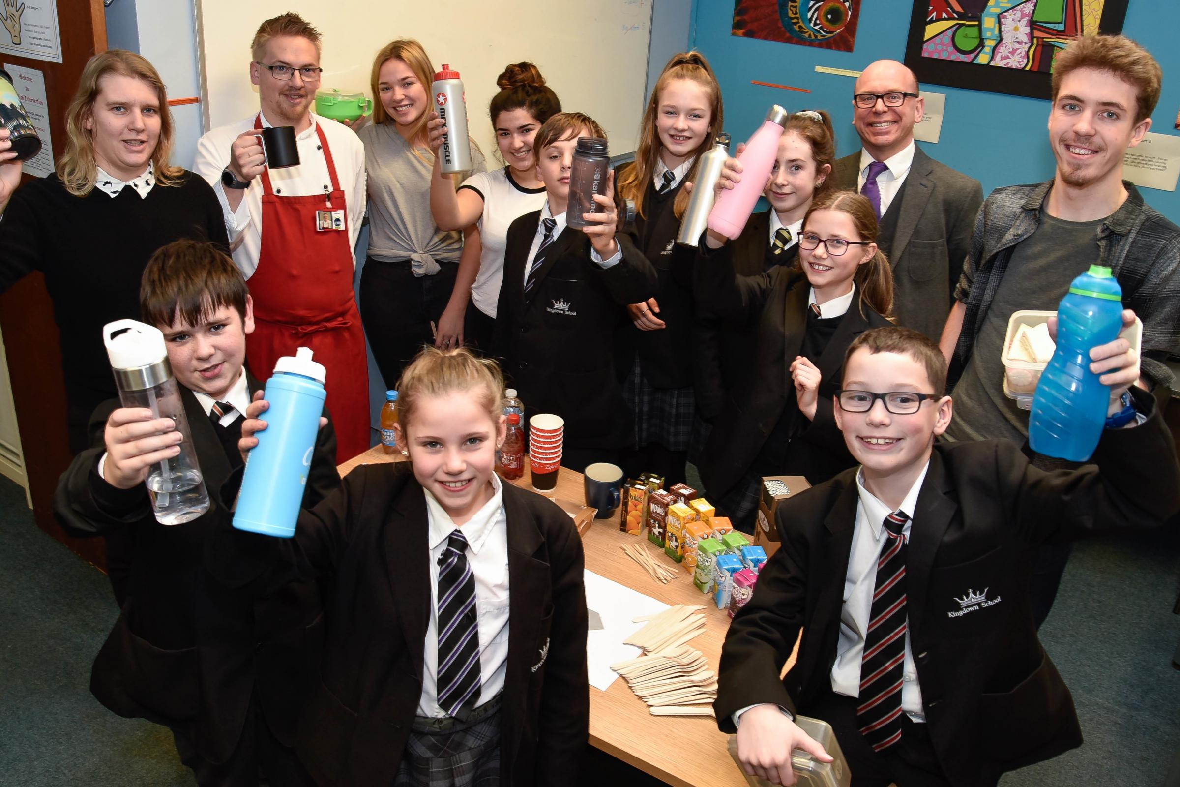 Kingdown School pupils and staff launch their 'Plastic Free Friday' campaign to encourage the use of non-plastic or re-usable food and drink containers and utensils Photo: www.gphillipsphotography.com GP1571