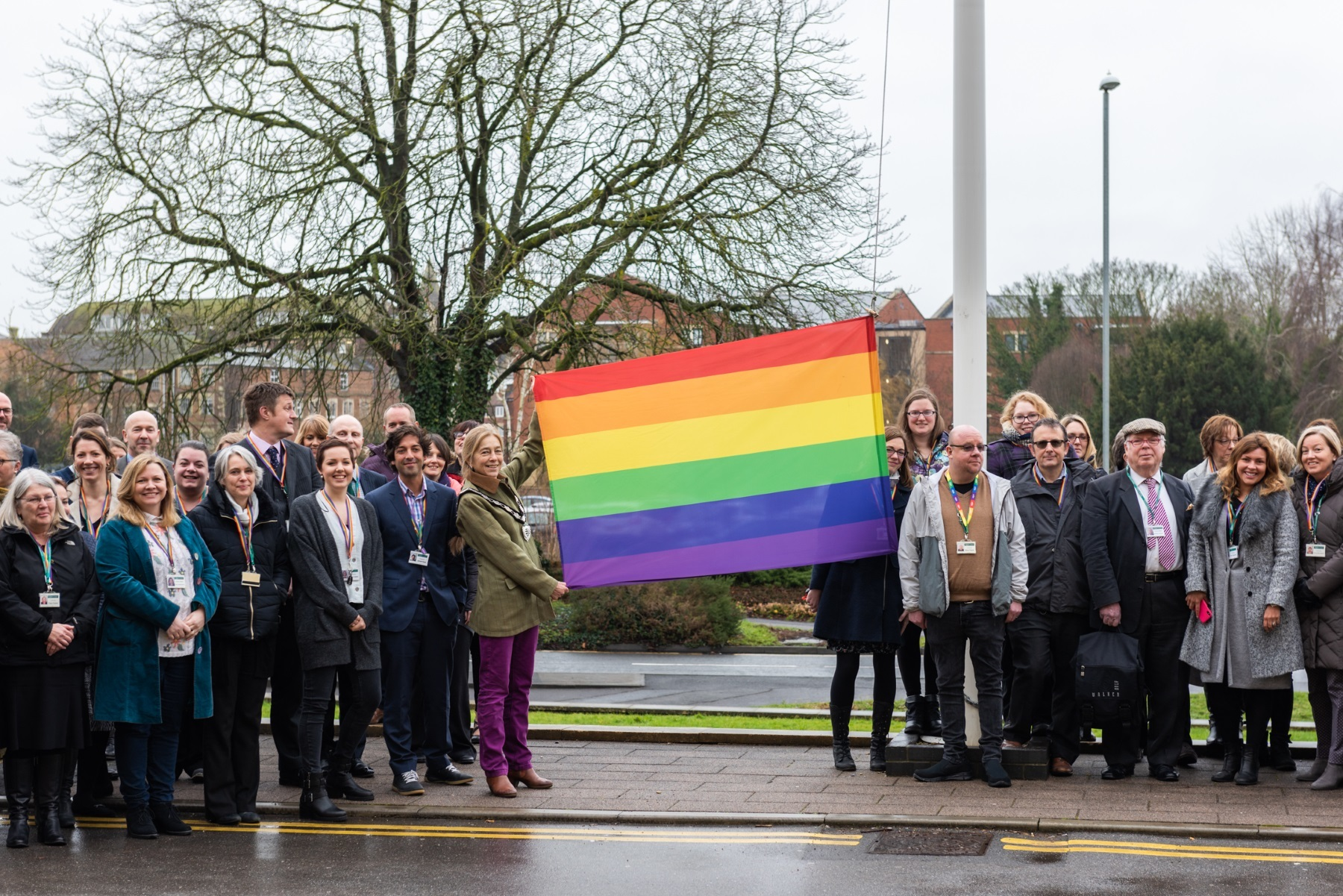 Wiltshire Council raises the flag to mark the start of LGBT History Month outside County Hall