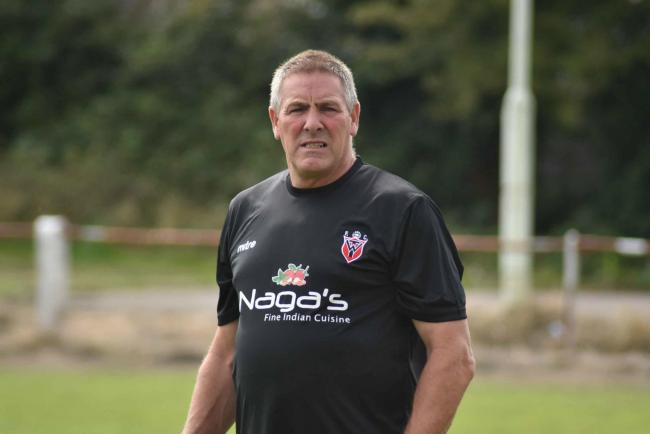 Warminsrter Town manager Andy Crabtree during Saturday's FA Vase tie against Devizes Town. Photo: gphillipsphotography.com Gp1428.