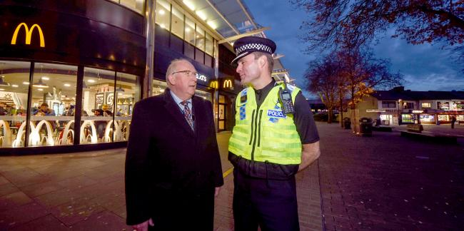 Kier Pritchard, Wiltshire's Chief Constable in Swindon town centre with Police and Crime Commissioner Angus Macpherson