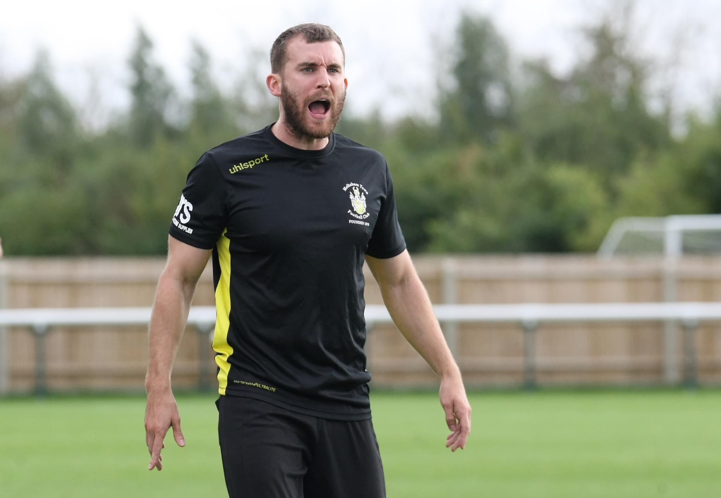 Melksham Town's boss Kieran Baggs during the 1-1 draw on Bank Holiday Monday. Picture: ROBIN FOSTER