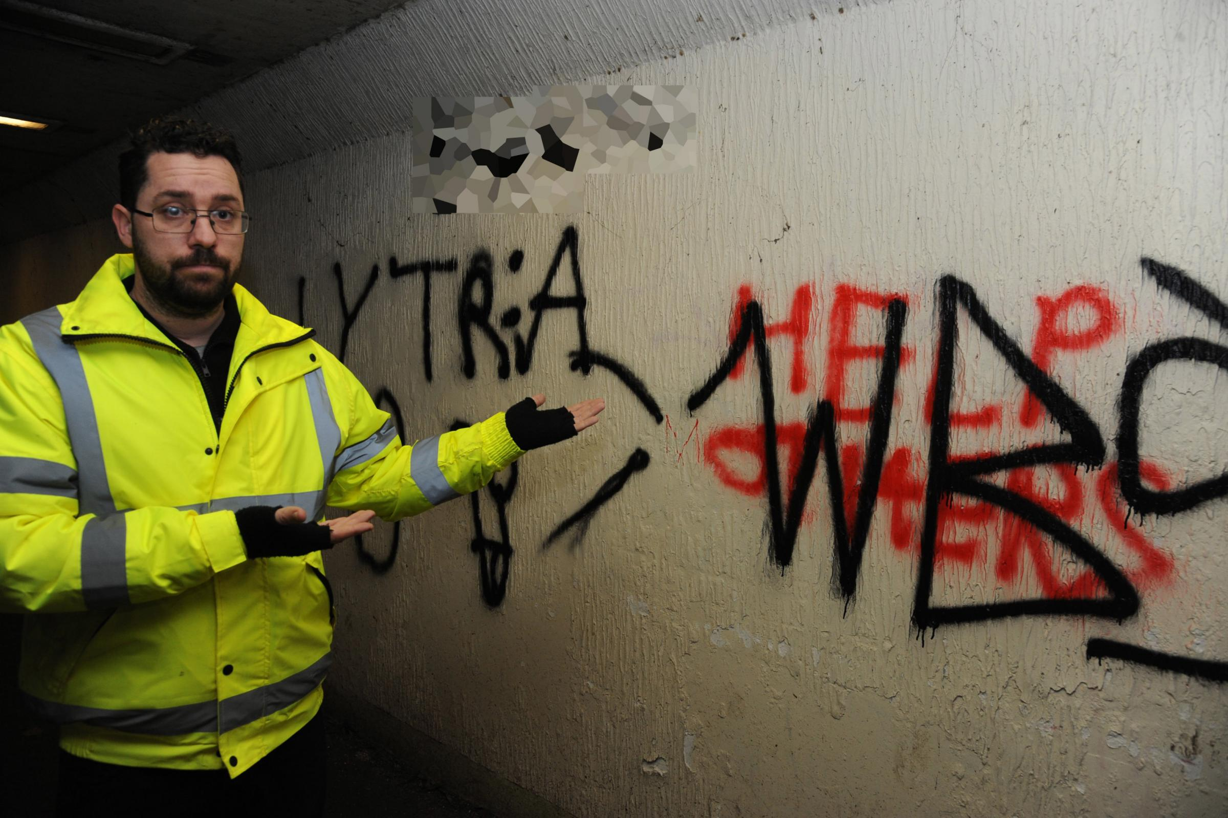 Graffiti. Trowbridge Park Carl Maddox of Trowbridge Council Neighbourhood services with offensive graffiti in the Underpass at Trowbridge park. Photo Trevor Porter 60186 1..