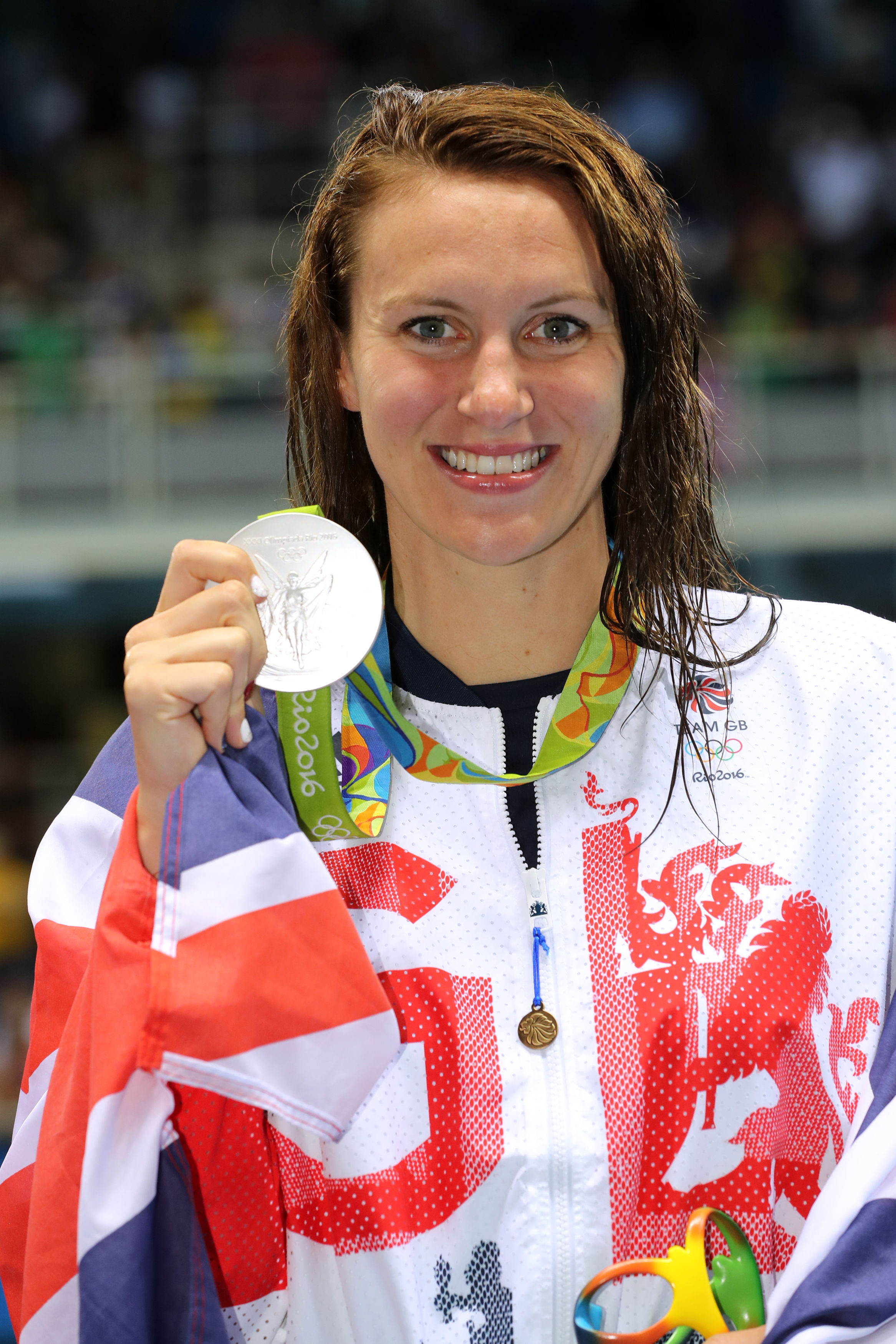 Jazz Carlin with her silver medal after the 400m freestyle at Rio 2016.            PICTURE: PA