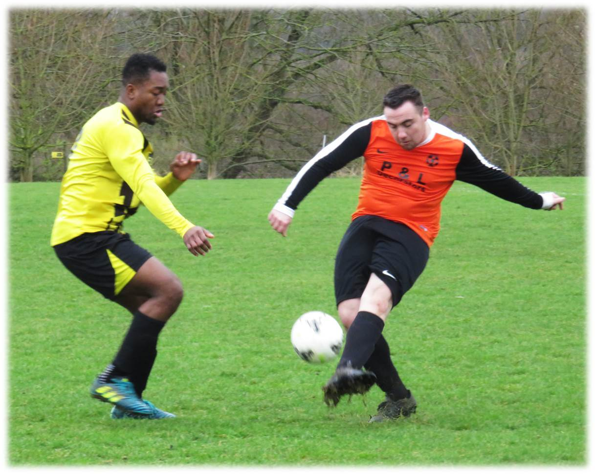 Action from the match between FC Libby (orange) and Fox & Hounds in the Chippenham & District Sunday League. PICTURE: CADER ESOOF