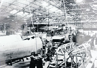 Workers at the Fuselage assembly shop at the Bradley Road Spitfire works Trowbridge