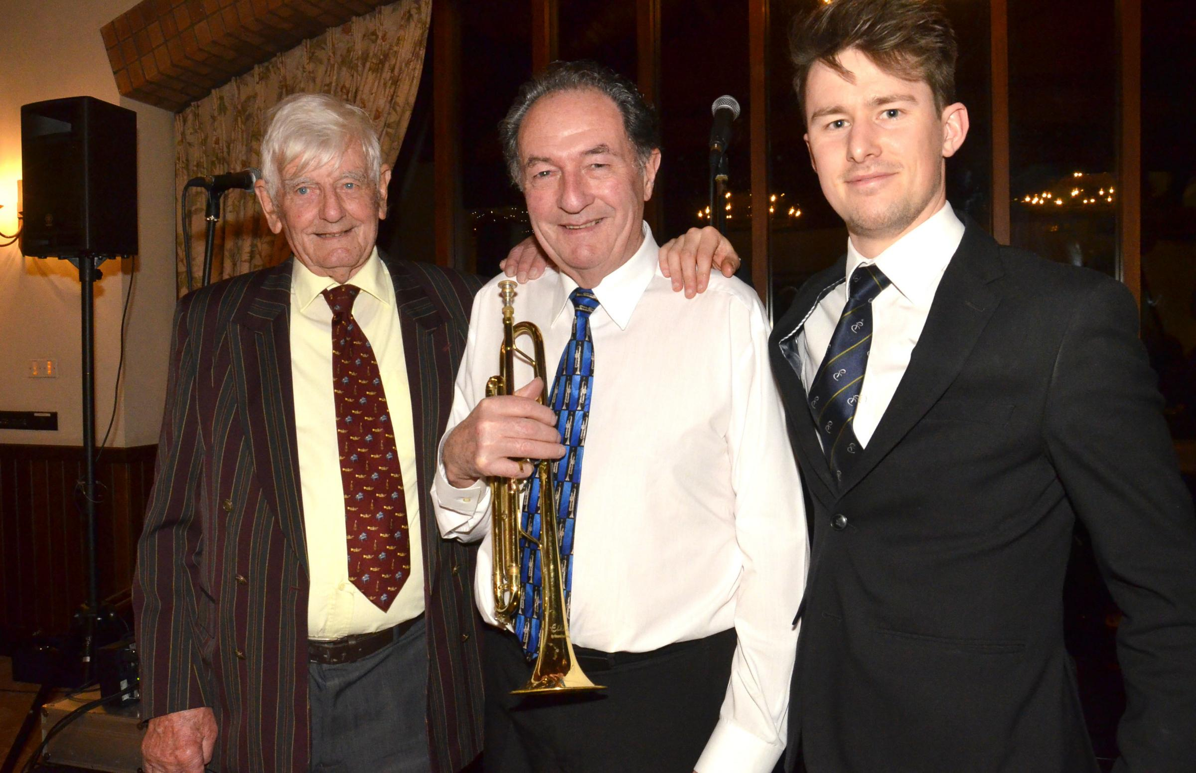From left, Gerald Griffin, Bradford on Avon Jazz Club Organiser, Band leader  Graham Trevarton and Deputy Manager of Cumberwell Park Rhys Gibbons Photo: Robert Coles