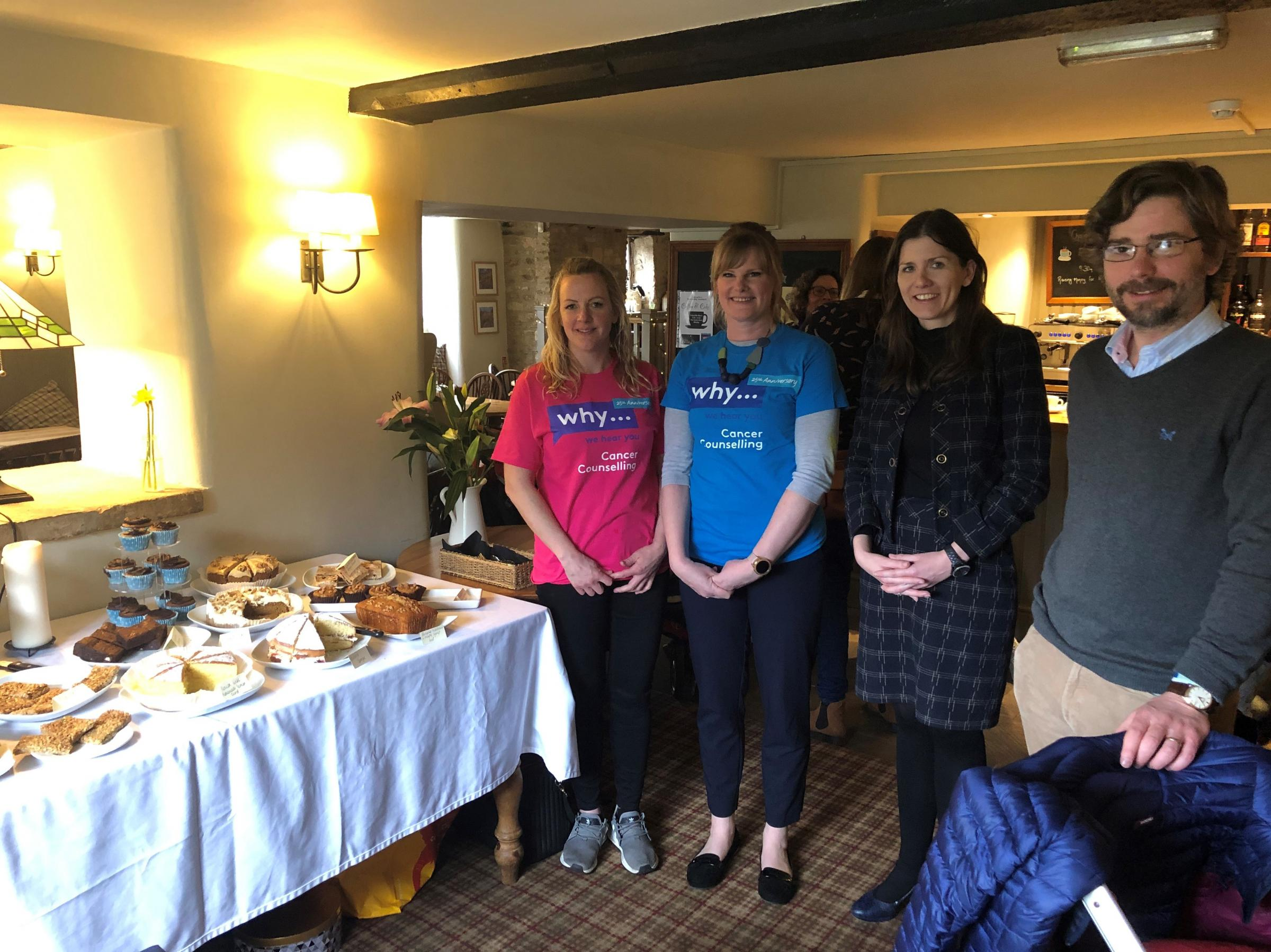 Michelle Donelan with Kate Hooper and Clare Cobb and Cllr Johnny Kidney at the WHY fundraising event at the Seven Stars in Winsley
