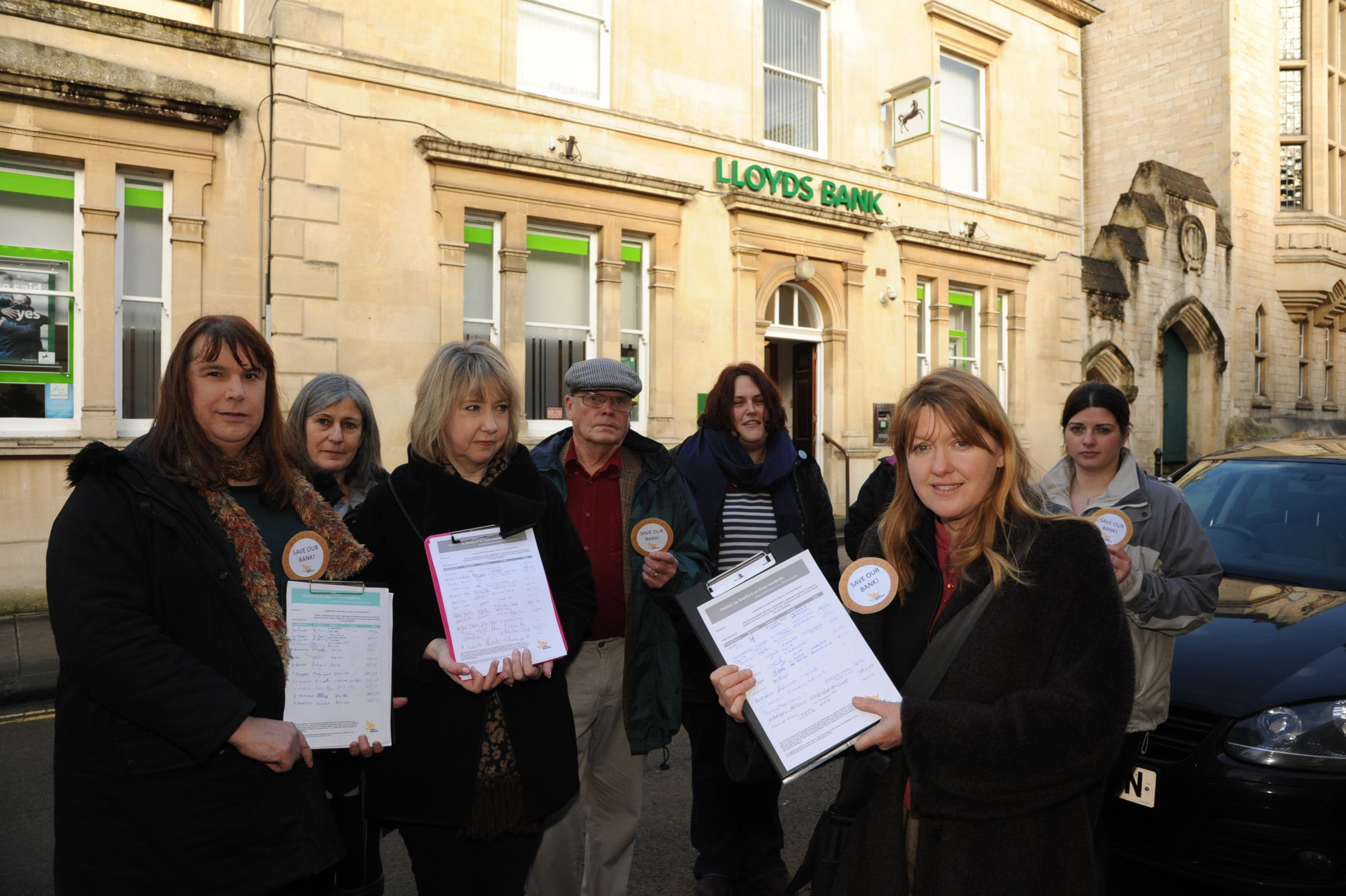 Wiltshire Councillor Sarah Gibson with protestors against the closure of Lloyds Bank in Church Street, Bradford on Avon Photo: Trevor Porter 58187/4