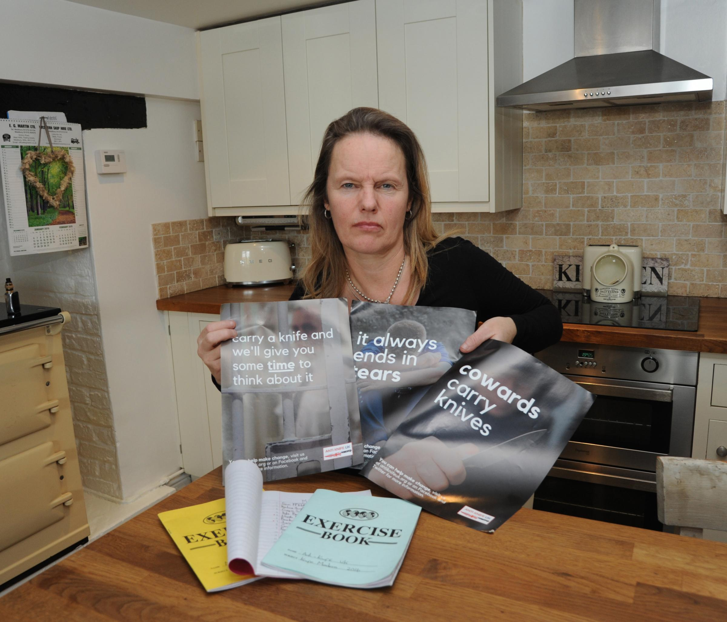 Anti Knife campaign with Emma Caley-Taylor. Emma Caley � Taylor with her anti knife campaign and the record of those who have lost their lives  due to stabbings. Photo Trevor Porter 60277 1..