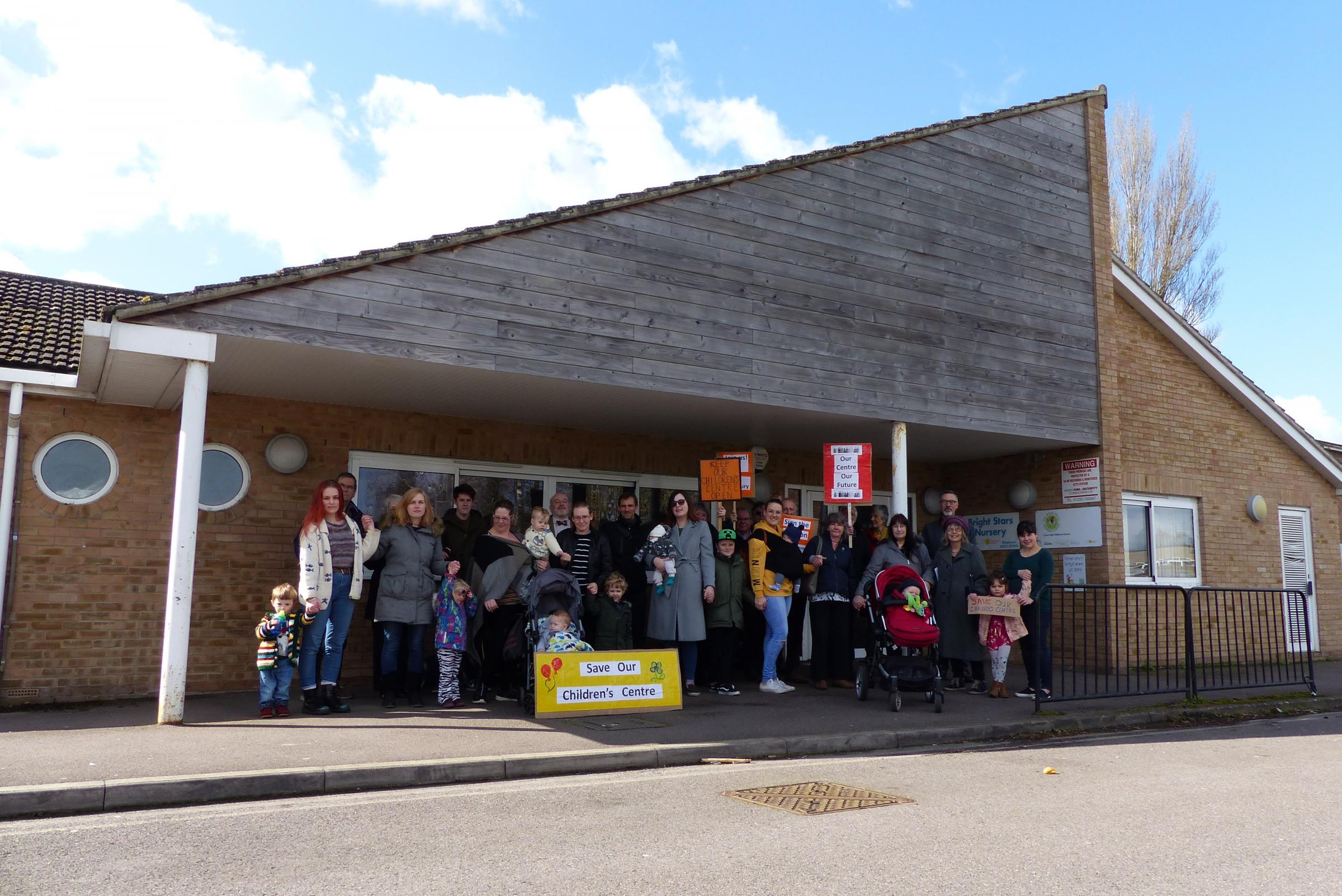 Parents protest outside Westbury Children's Centre in the aftermath of Wiltshire Council's proposals