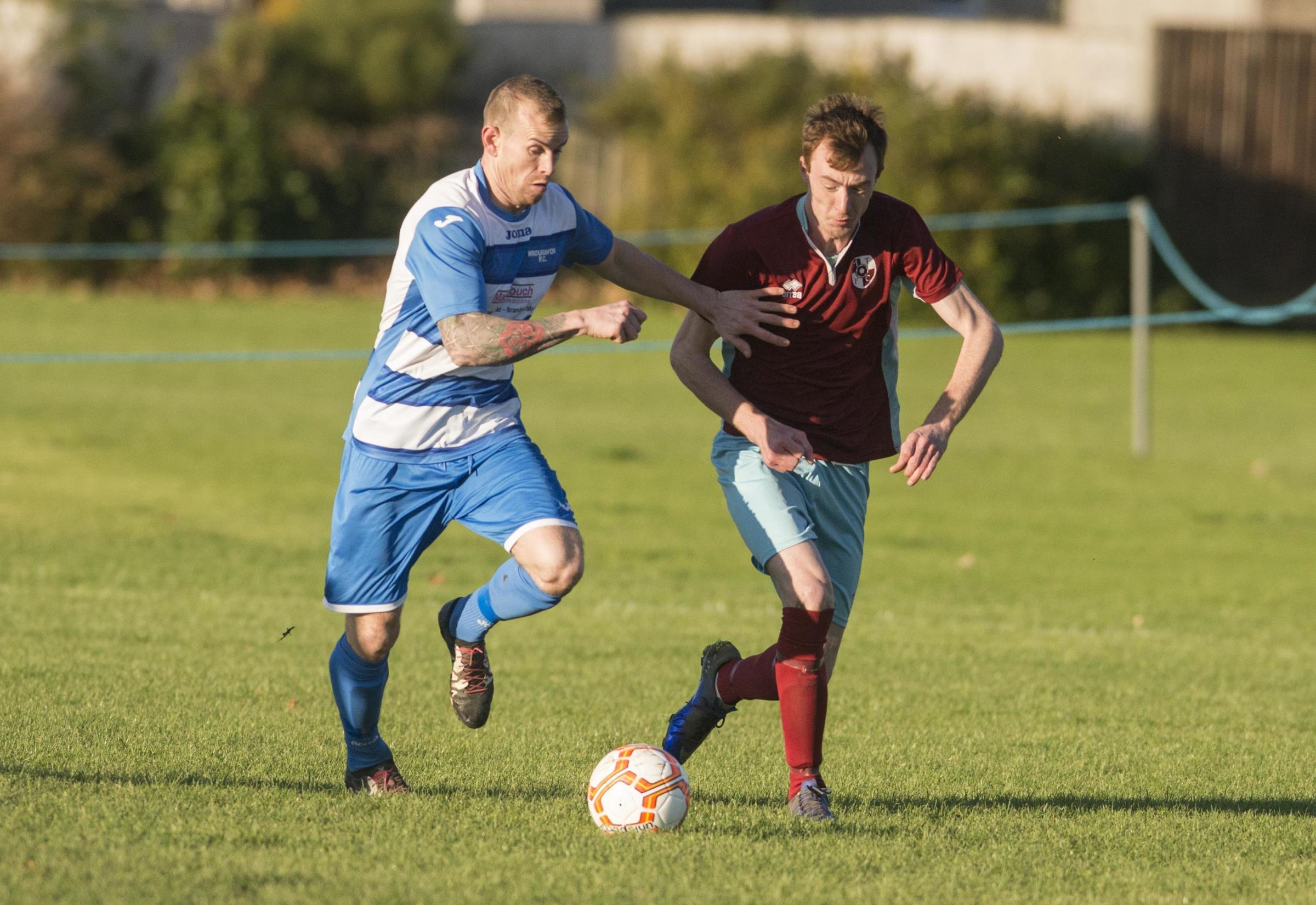 Shane Hibbert scored four times in Wroughton's Knockout Cup win over Purton at the weekend