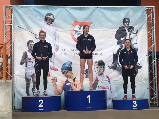 Trowbridge's Sarah Wilson on top of the podium in Portugal