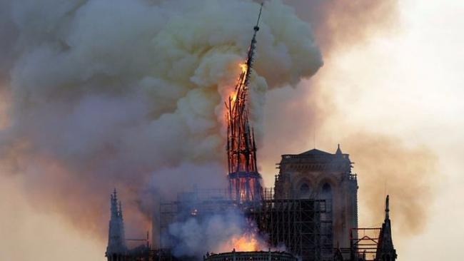 The fire badly damaged the Notre-Dame