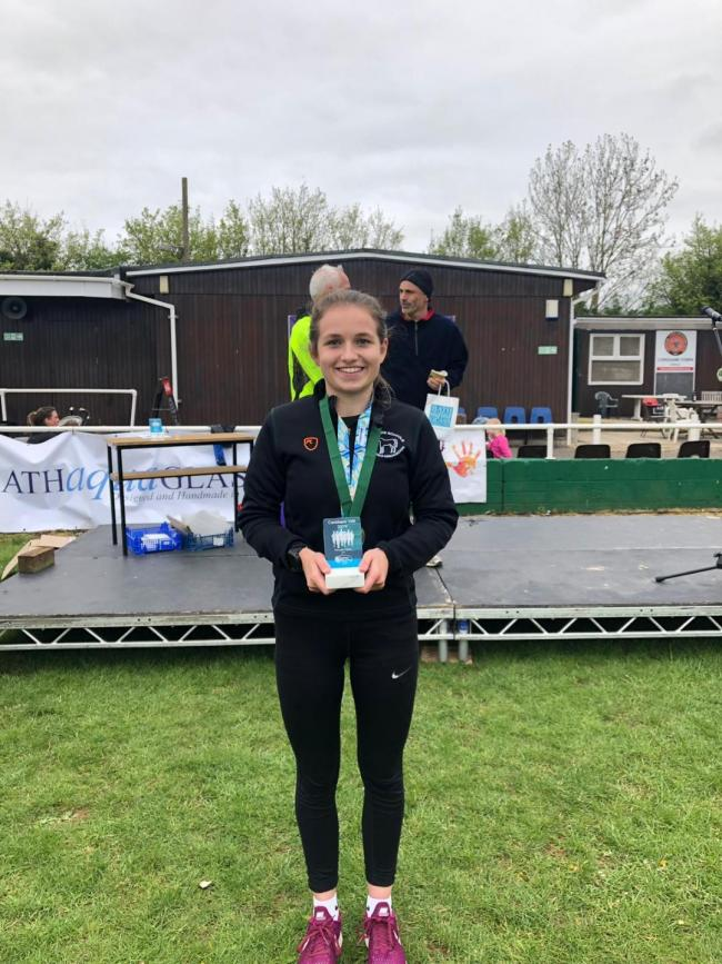 Jade Littlechild with her Wiltshire 10k gold medal