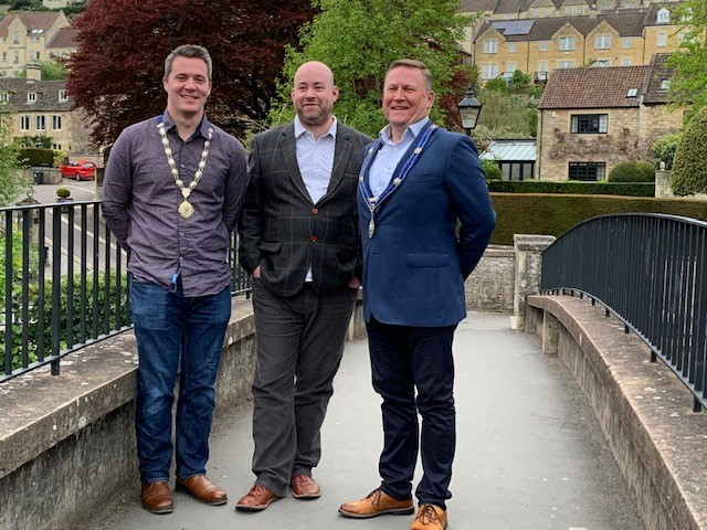 (L-R) New deputy mayor cllr Dan Taylor, leader of the council cllr Dom Newton and new mayor cllr Simon McNeill-Ritchie.