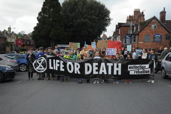 Extinction Rebellion Marlborough..  Campaigners assemble on the High Street at the Extinction Rebellion Marlborough..Photo Trevor Porter 60371 6..