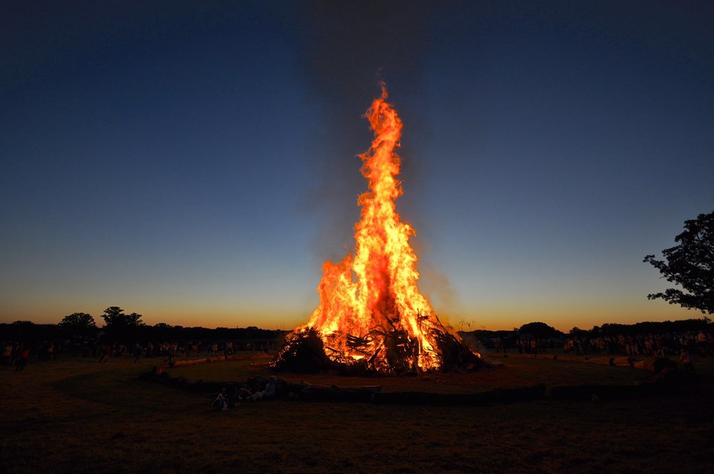 The image of a burning bonfire in Texas