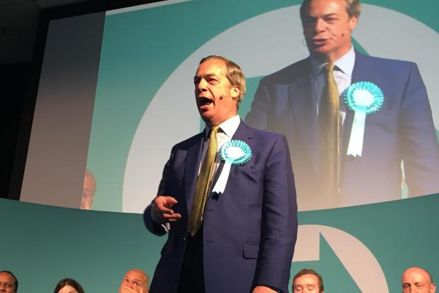 Wiltshire Times: Brexit Party leader Nigel Farage speaks at the Corn Exchange, Edinburgh