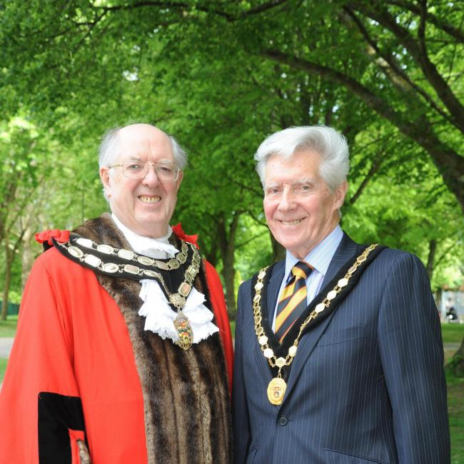 Cllr David Cavill the new Trowbridge Mayor with his deputy Cllr Peter Fuller. 						Photo Trevor Porter 60382 3