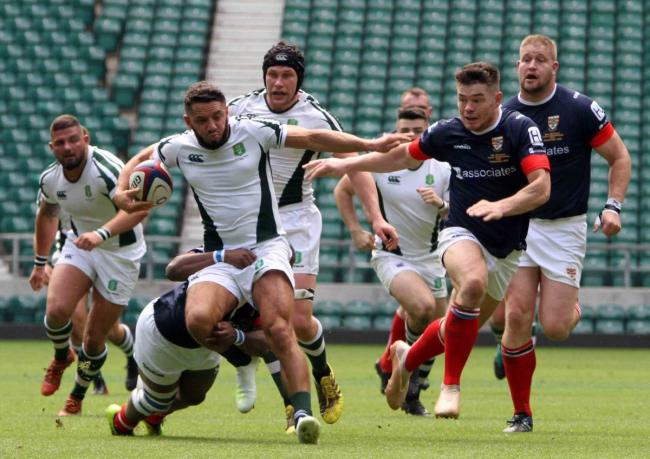 Dorset & Wilts (white) go on the attack during the Bill Beaumont County Championship Division 3 Final against Cumbria at Twickenham. PICTURE: IDRIS MARTIN