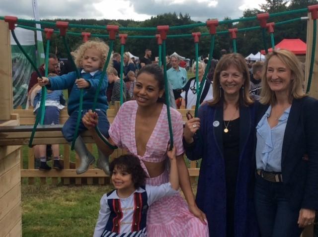 Viscountess Weymouth, Emma Thynn, opens new the village play area at Horningsham Fayre