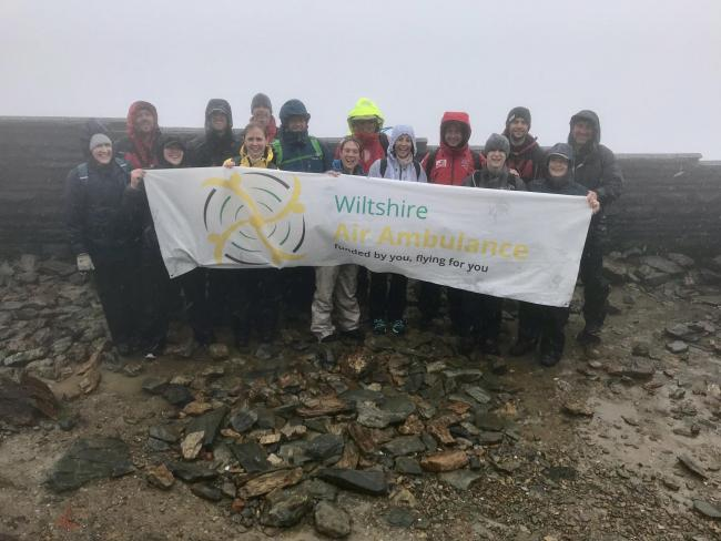 We did it! The Wiltshire Air Ambulance team, which included Winter Olympians Shelley Rudman and Kristan Bromley, at the summit of Mount Snowdon